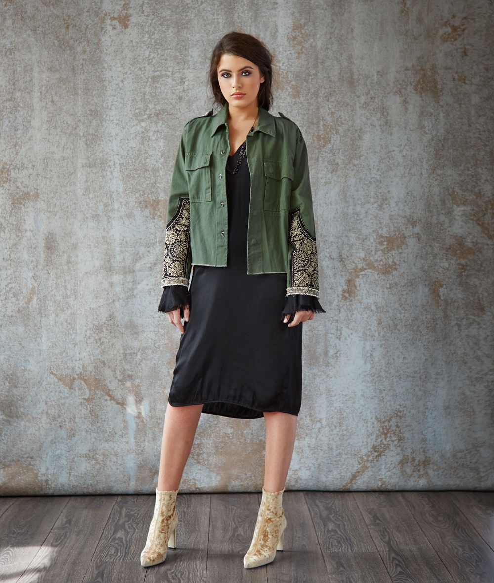 Loyd Ford jacket, Lena Skadegard necklace, Jimmy Choo gold crushed velvet bootie