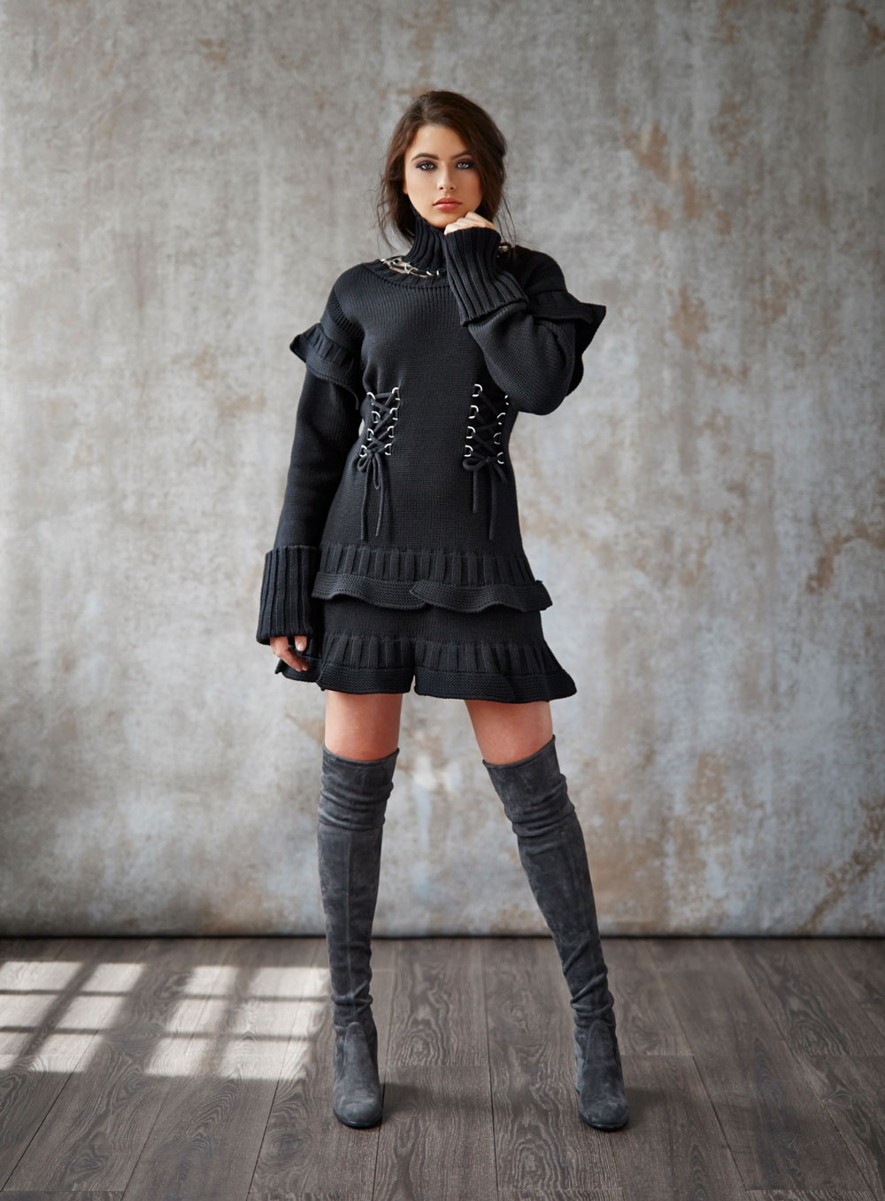 Alexander McQueen sweater dress; Stuart Weitzman over-the-knee suede boots