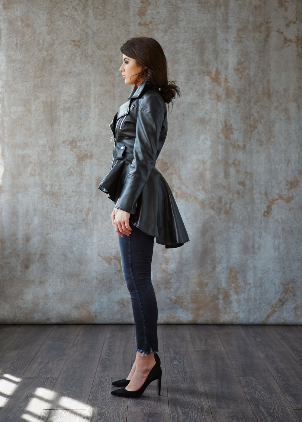 Alexander McQueen peplum leather jacket, Mother Denim jeans, Jimmy Choo pumps