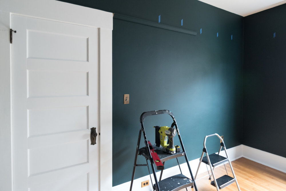 One Room Challenge Week 3 How To Install Picture Rail Molding