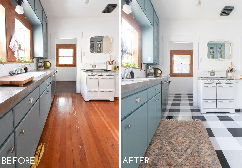 A DIY Kitchen Transformation Using Vinyl Floor Tiles + A Video ...