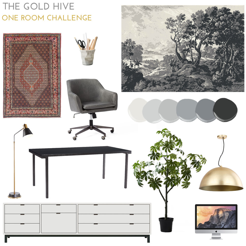The Gold Hive One Room Challenge Design Plan