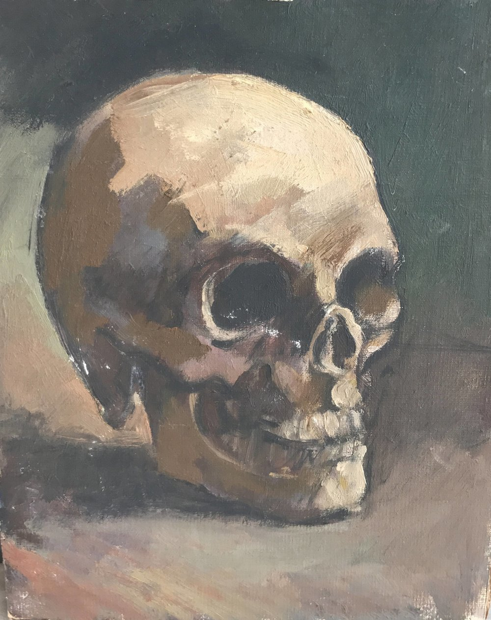 Vintage still life oil painting on board of a skull