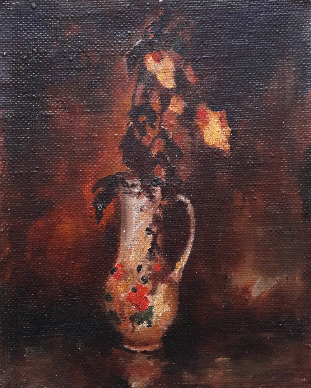 Original oil painting, Dry Roses, Still Life, Soviet Vintage Painting, One of a kind painting