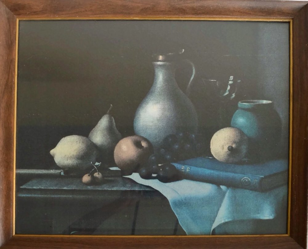 Vintage Still Life Lithograph Painting Table Fruit and Pitcher Framed Dark Moody Color Palette Antique Litho Wood Framed Kitchen Art Food