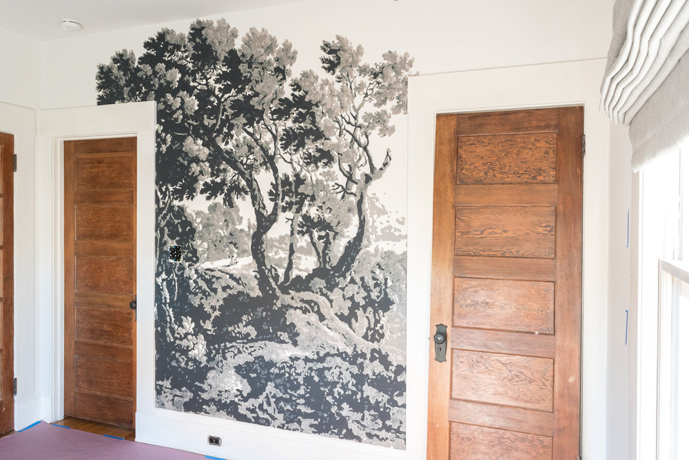 wall mural of tree using projector and layers