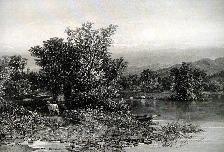 1874 The Housatonic River Scene * Vintage Steel Engraved Print Art Engraving Picturesque America Beautiful Original Landscape Illustration
