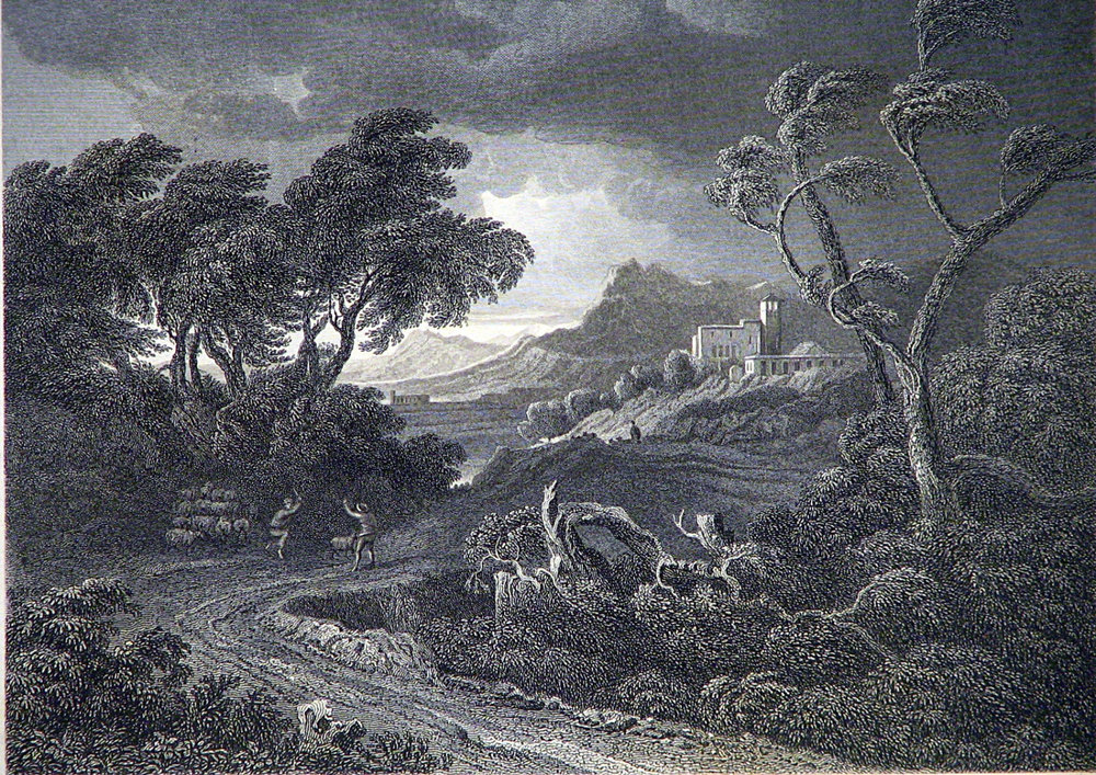 A Land Storm by S. Lacey circa 1870s Original Vintage Steel Engraving Landscape Scene 140+ Years Old! Original