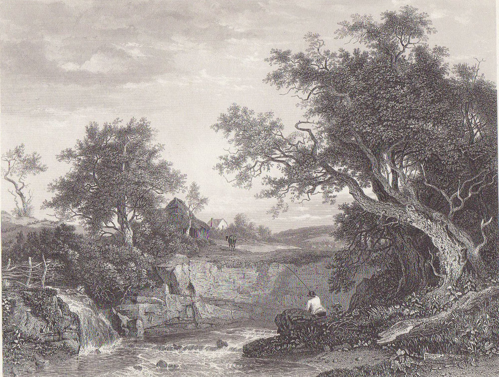 1875 England English Lake Angler's Nook Angler Fishing Fisherman Steel Engraving Landscape