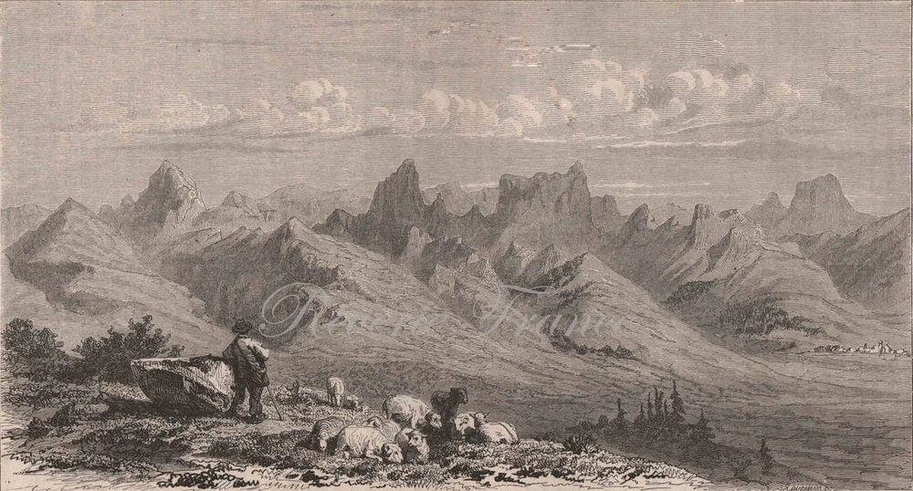 Antique French Engraving from 1860 French Alps