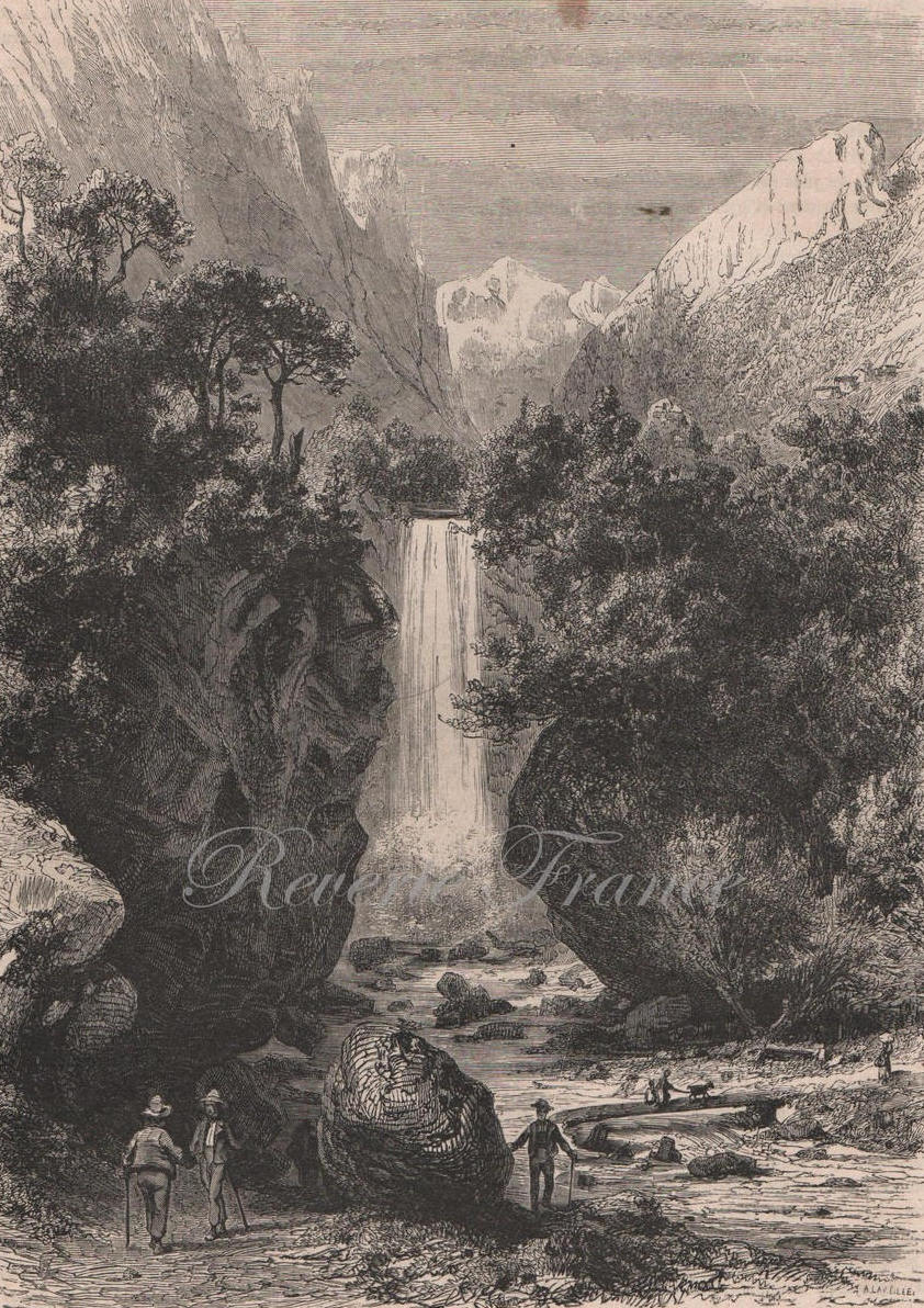 Antique French Engraving from 1860 The Dauphine France Waterfall