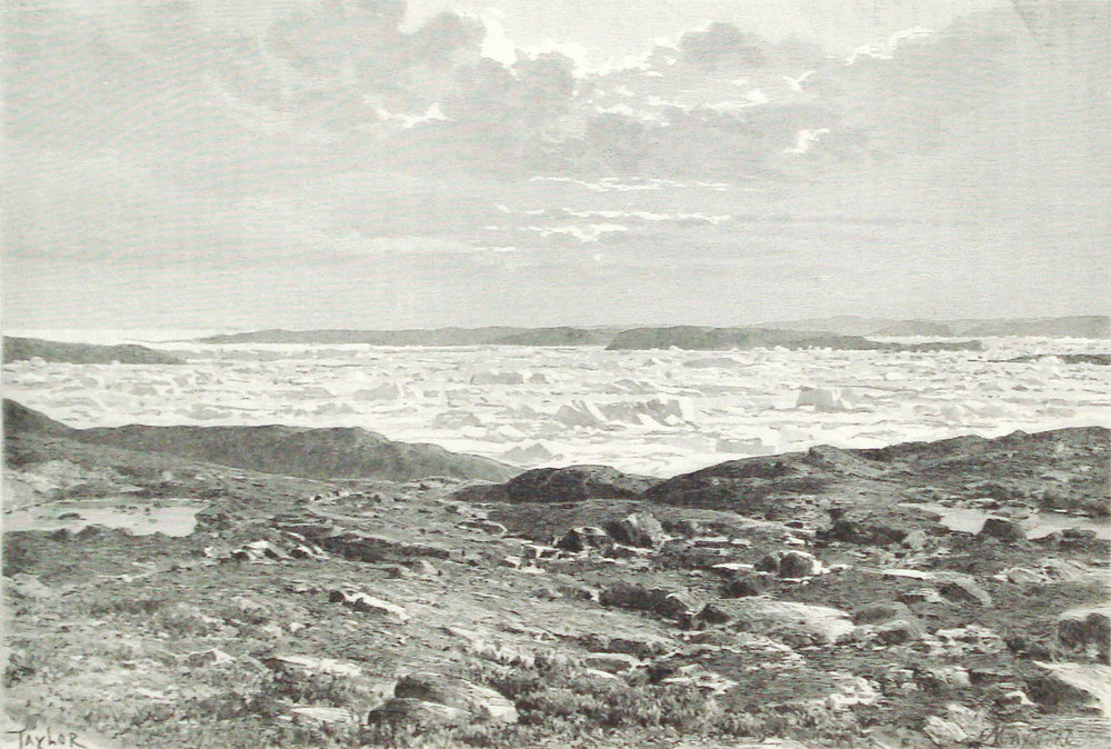 1890 print, Jakobshavn Glacier, Greenland, Denmark - Victorian, Sermeq Kujalleq - 127 yr French antique engraving illustration