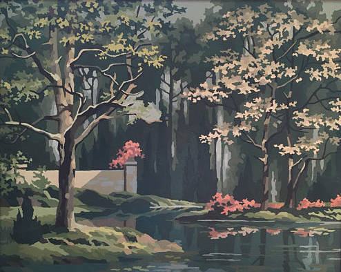 Vintage Paint By Number Framed Artwork, River Landscape Garden Painting, Mid Century Wall Art, Large Wall Decor
