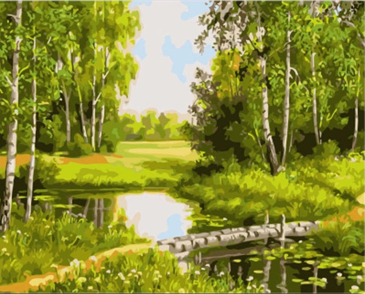 Beautiful green Landscape Picture Painting By Numbers DIY Canvas Oil Adult Coloring Home Decoration For Living Room 40*50cm
