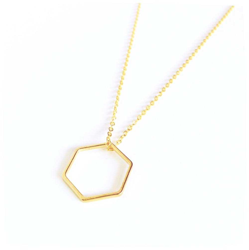 Brass Hexagon Necklace