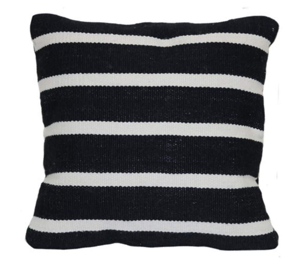 Outdoor Throw Pillow Square - Woven Narrow Stripe Black - Project 62™
