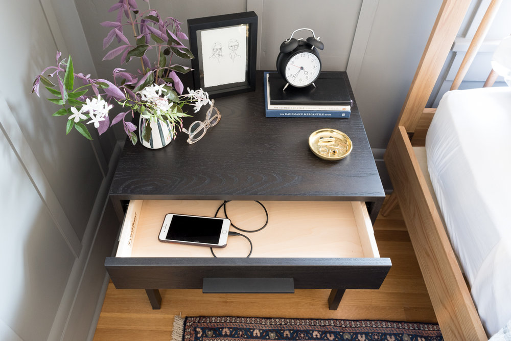 cord management solutions hide phone charger in nightstand drawer