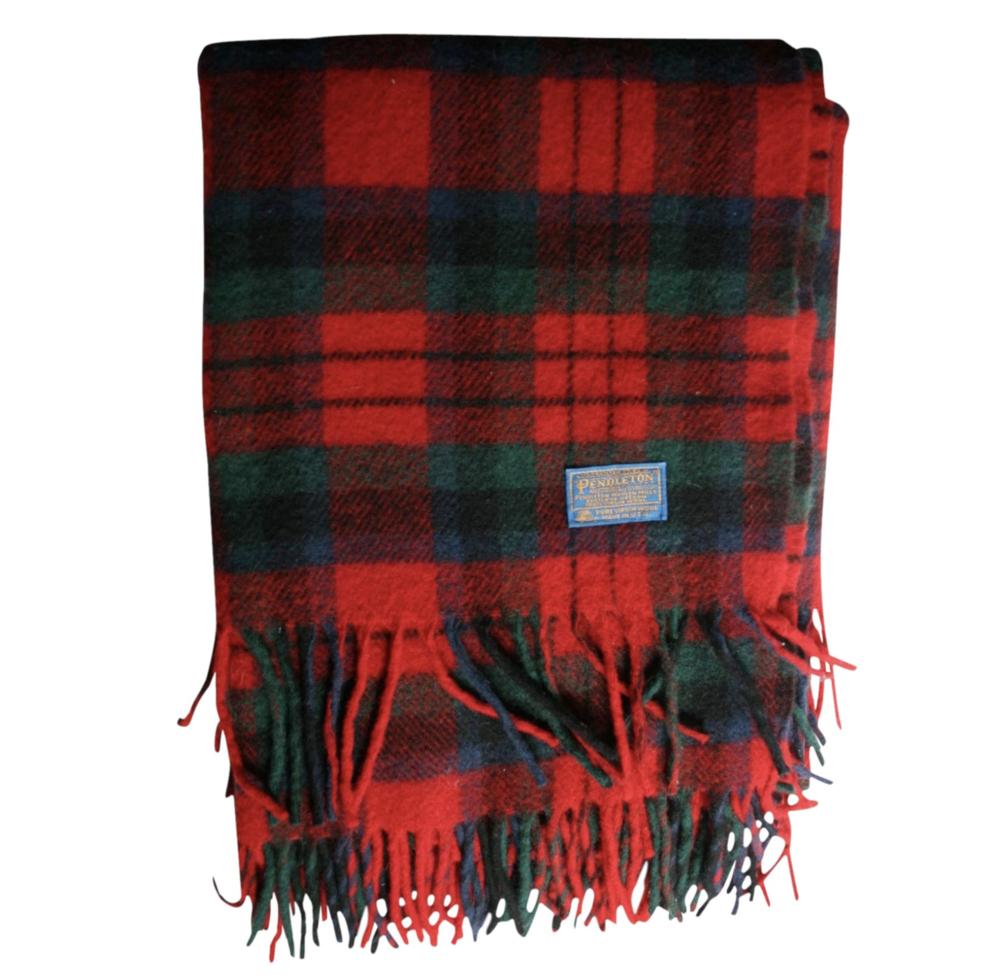 Vintage Wool Pendleton Blanket Red and Green