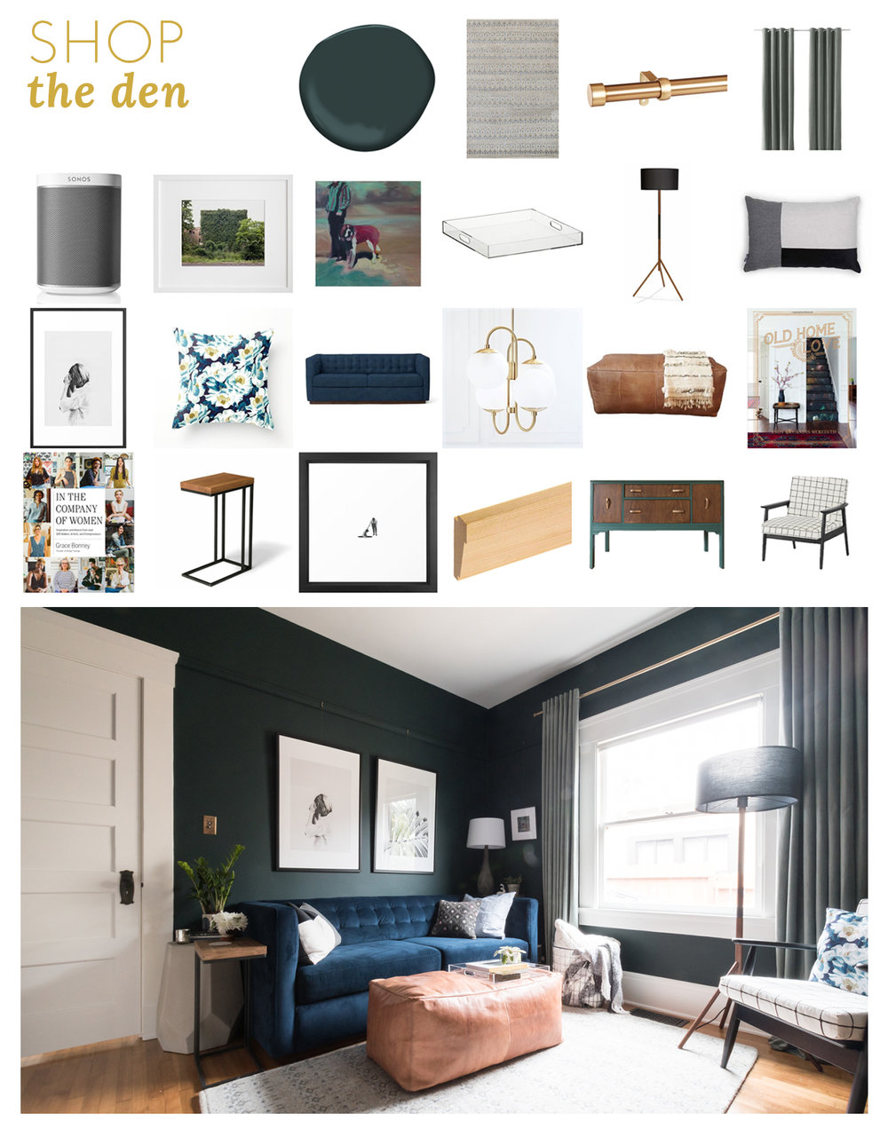 Shop the Den - The Gold Hive - moody dark green walls vintage and modern
