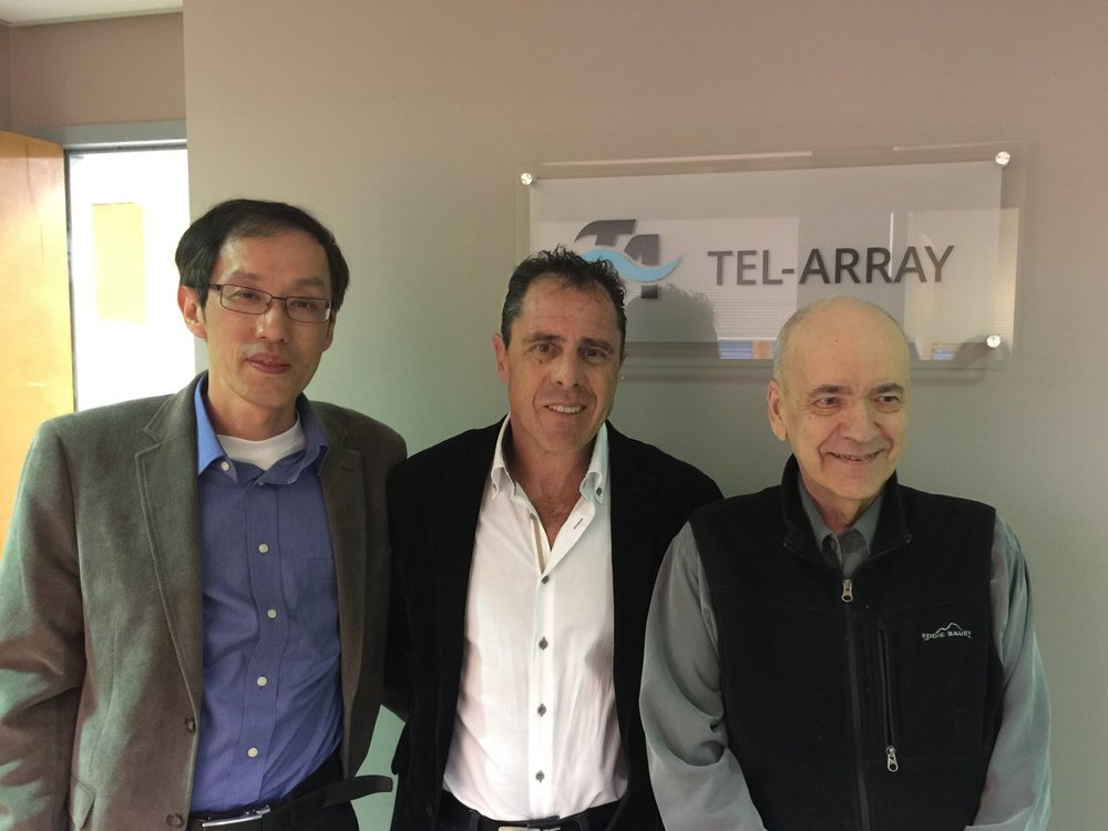 Dr. Saul Isserow (middle) and Tel-Array co-founders Dr. Hong Zhang (left) and Dr. William Campbell (right)