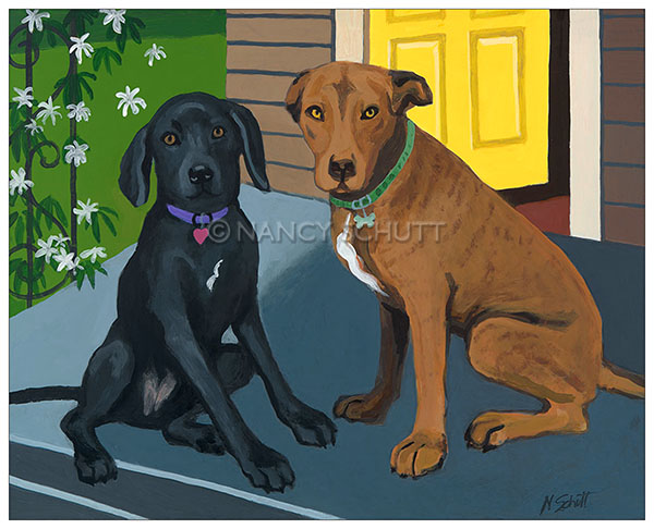 Final painting of Sucia and Ivy at home