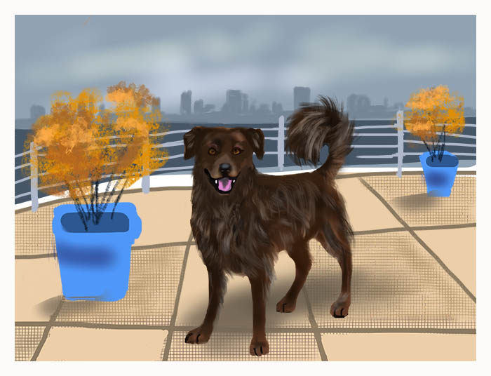 Original digital painting by Seattle dog artist.