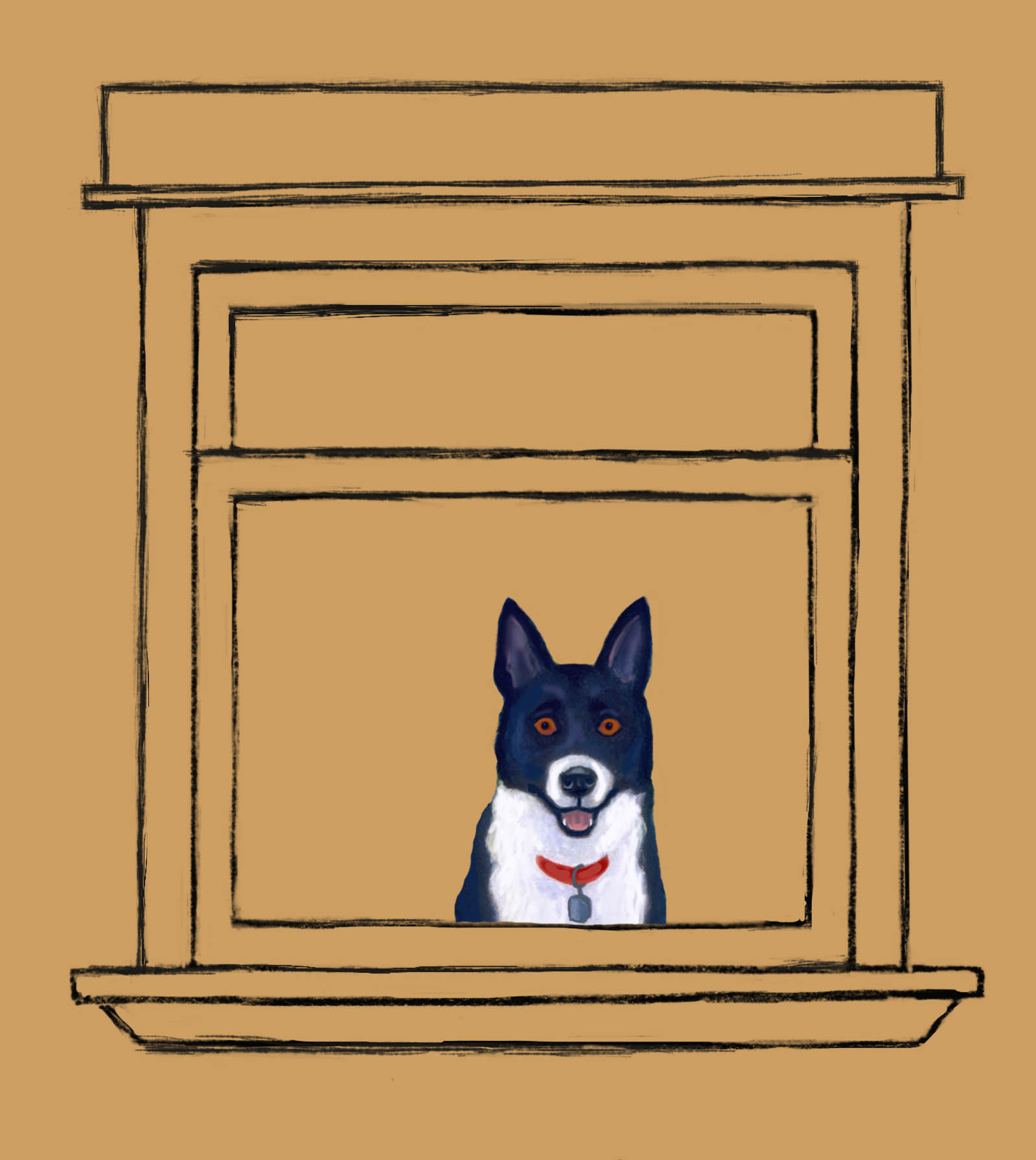 Dog in the window waiting