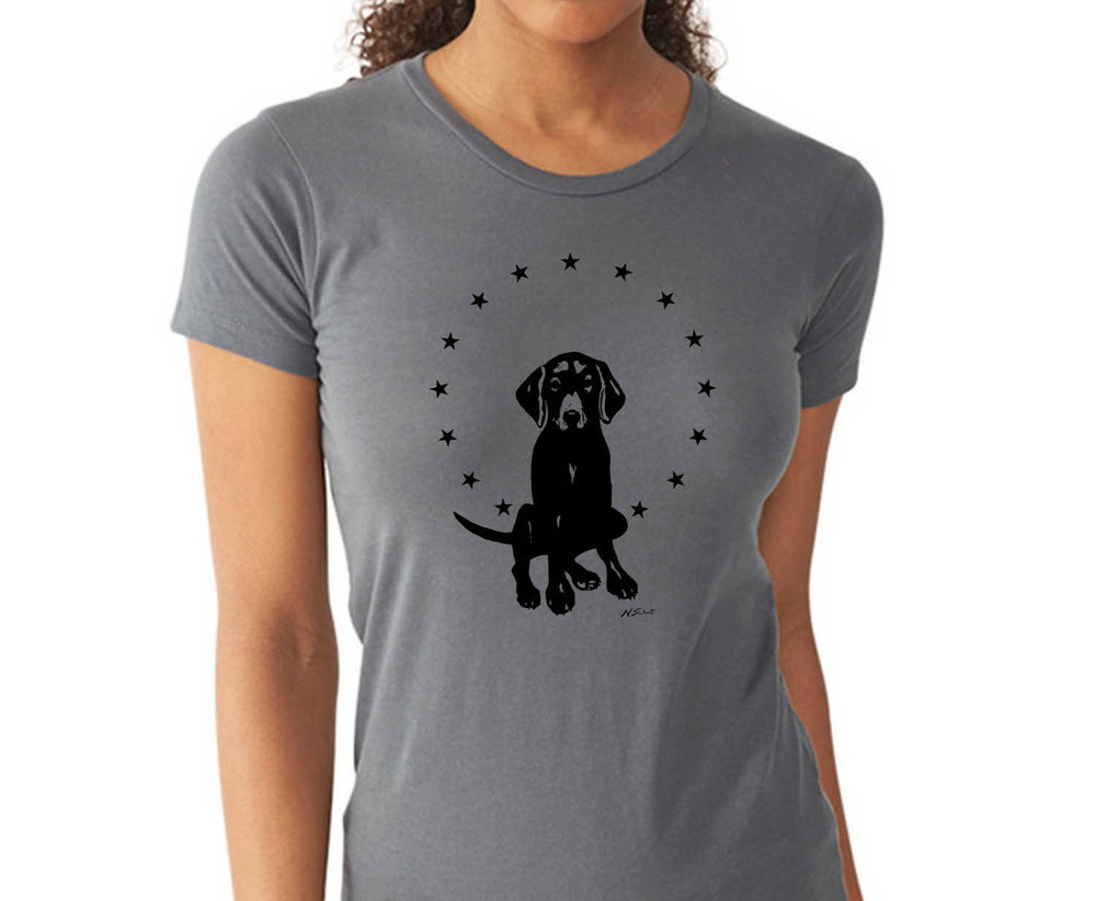 Show your love- wear the dog. A variety of dog art T shirts in a variety of colors.