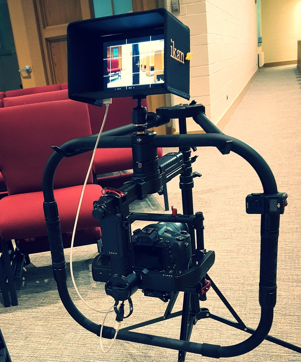 """***************************July 2017************************DJI Ronin-MX Gimbal Stabilizer with Ring grip, thumb controller and 7"""" monitor."""