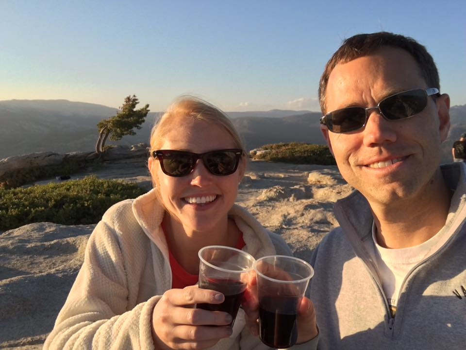 Waiting for the sunset at Sentinel Dome in Yosemite. We learned that canned wine travels really well in a hiking backpack.