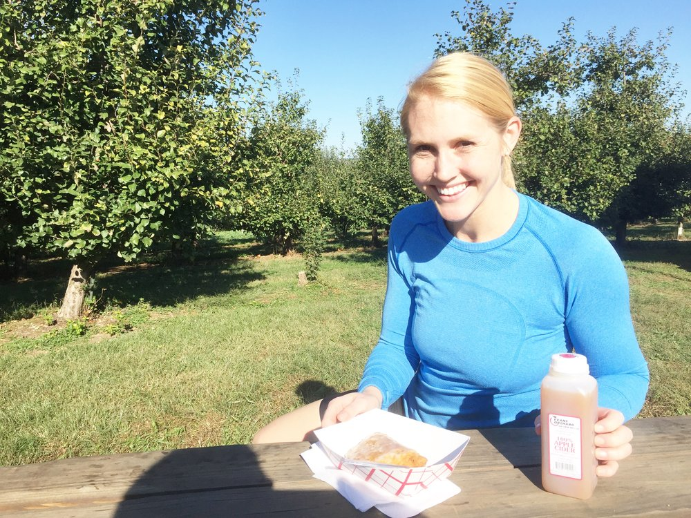 42 mile bike ride to Evan's Orchard for apple pies and fresh cider. Not pictured: dorky bike shorts
