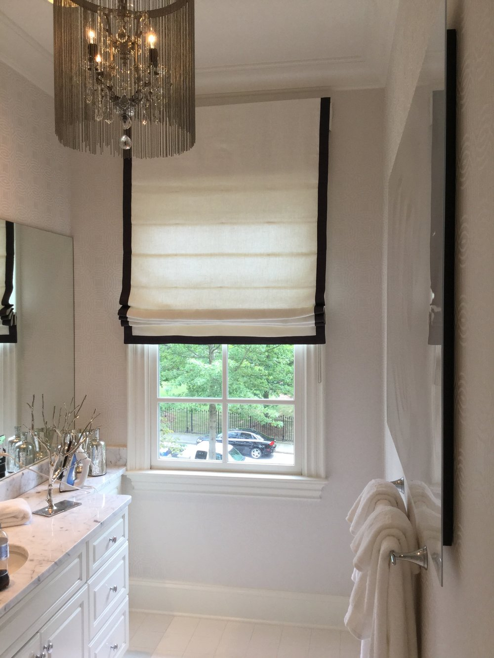 Roman Shades are offered in several styles- Classic, Relaxed and tucked. There are also different lift options. Ask your D98 representative for more details.