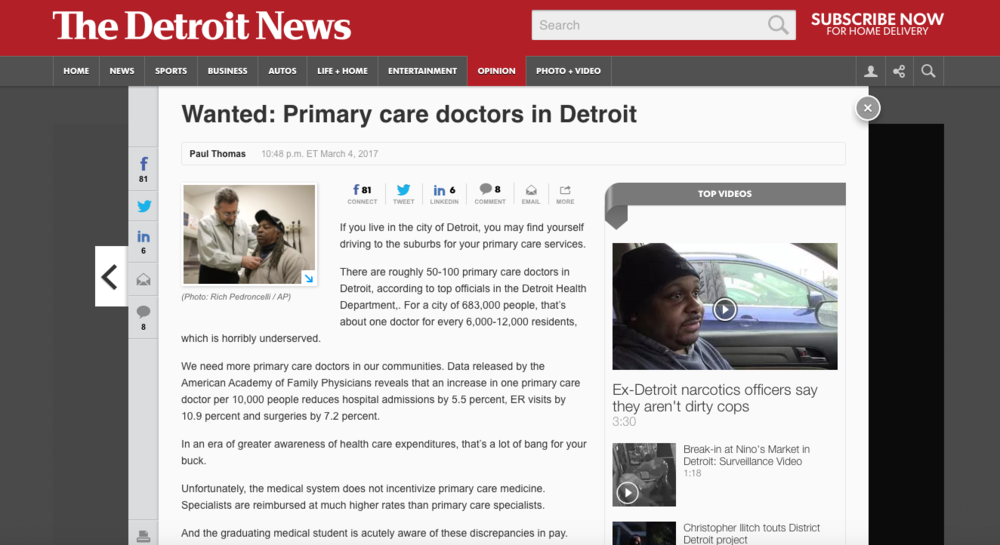 2017.03.05 Detroit News Opinion Plum Health DPC Primary Care.png