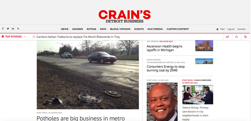 On February 20th, we were featured on the front page of the Crain's Detroit Business webpage, you just might have to squint to see us!