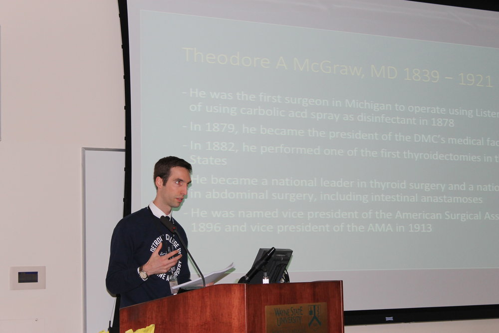 Dr. Paul Thomas MD discussing the history of Wayne State University School of Medicine during the 150 year alumni reunion weekend.JPG