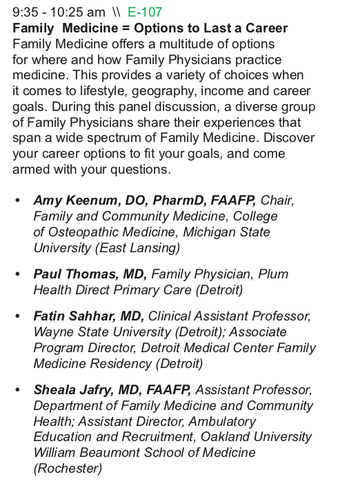 I had the pleasure of speaking to an audience of over 100 + Medical Students and Medical Residents at the Michigan Future of Family Medicine Conference in October 2018. I shared the stage with Dr. Sheala Jafry, Dr. Fatin Sahhar, and Dr. Amy Keenum. The event was held at Michigan State University and hosted by the Michigan Academy of Family Physicians (MAFP).