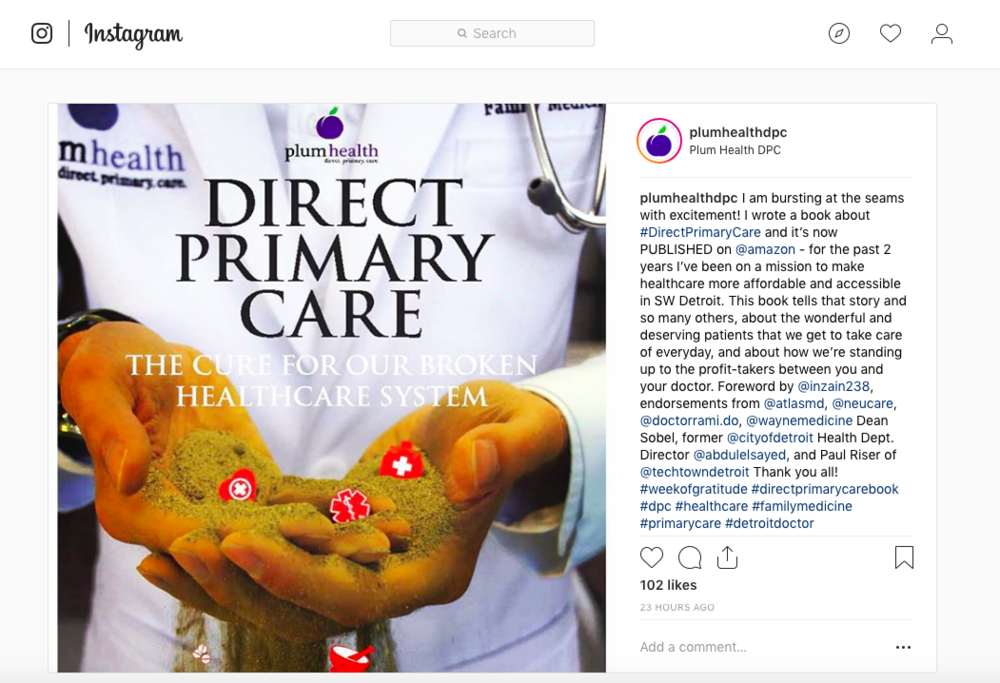 We've been getting a lot of support on Social Media, like on our Instagram Page, follow us here: https://www.instagram.com/plumhealthdpc/