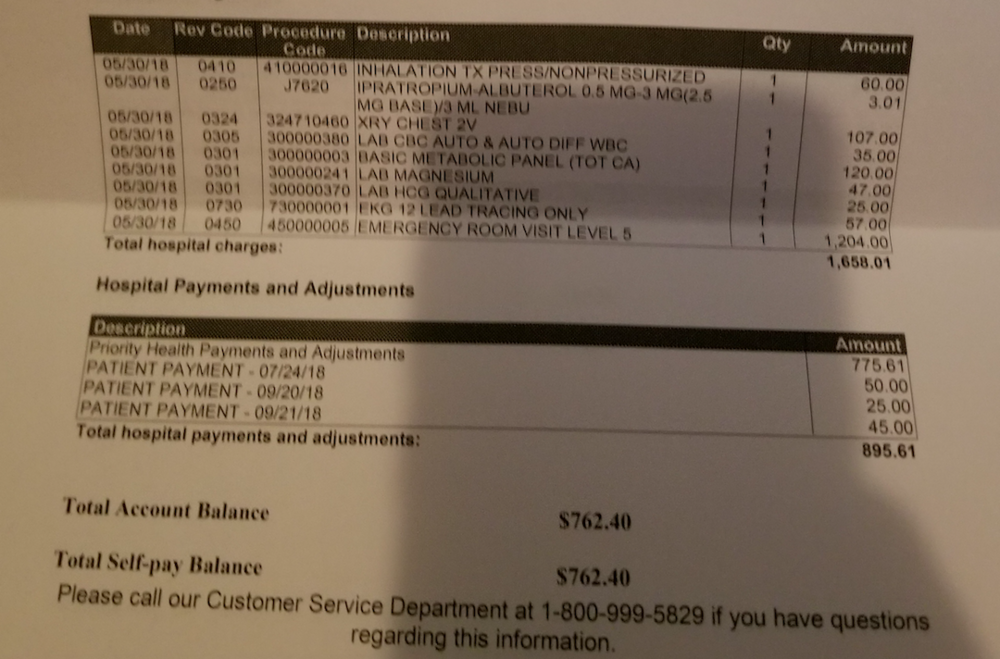 A Detroiter shows me their medical bill, showing the inflated costs of a chest x-ray, breathing treatments, blood work, and an EKG. Shared with permission.