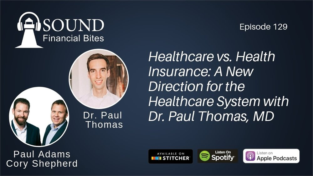 Here's the promo image from Sound Financial Bites for the podcast on Healthcare vs Health Insurance featuring Dr. Paul Thomas of Plum Health DPC.