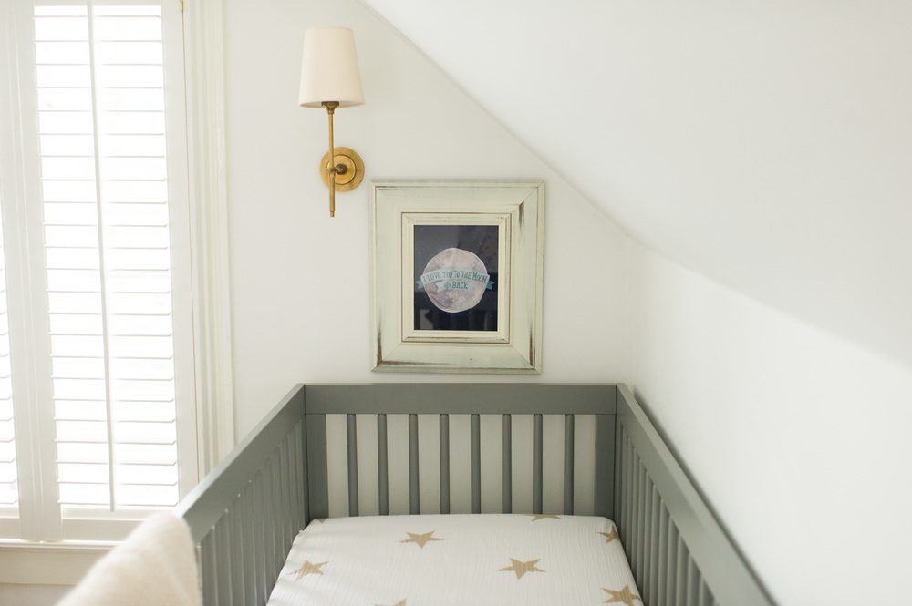 Another view of the crib. We kind of fell in love with the star print from Aden and Anais.
