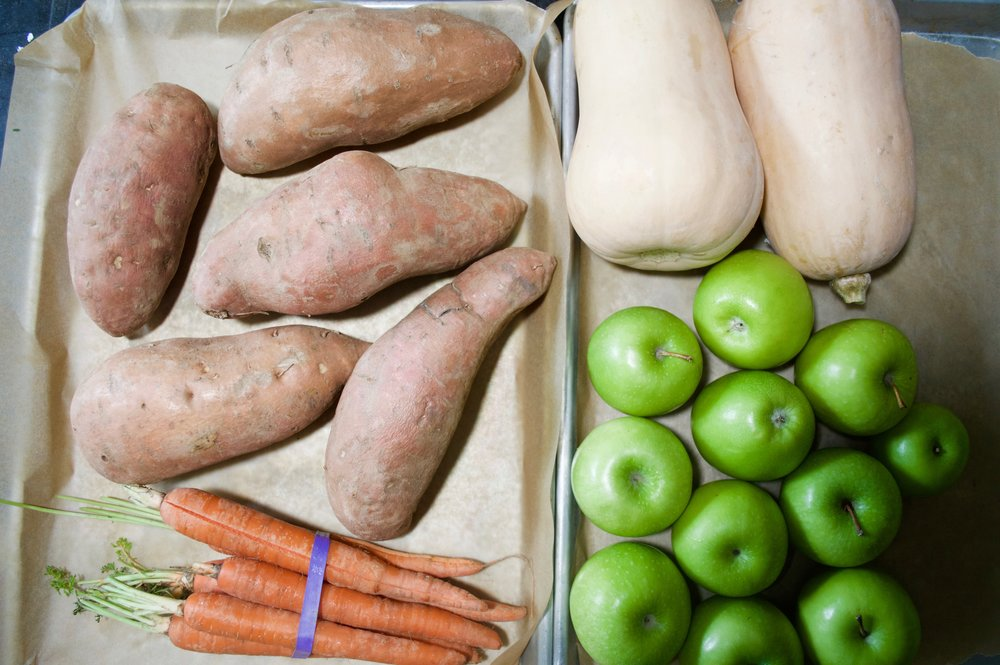 Sweet potatoes, Carrots, Butternut Squash and Granny Smith Apples