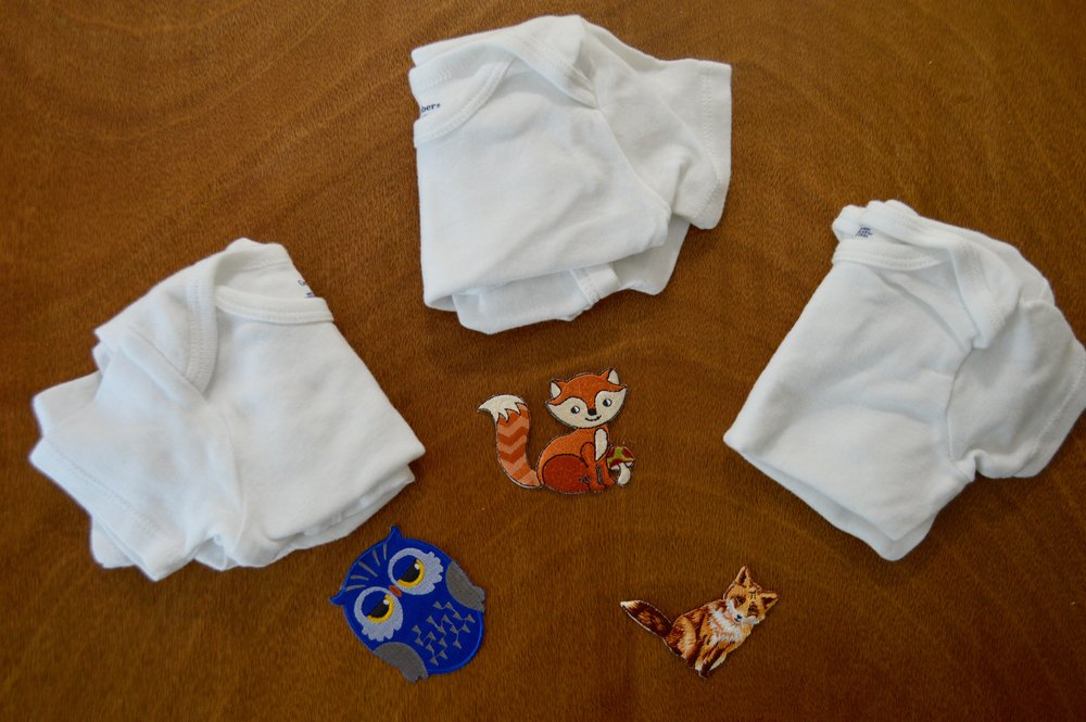Patches from Amazon and Gerber Onesies.
