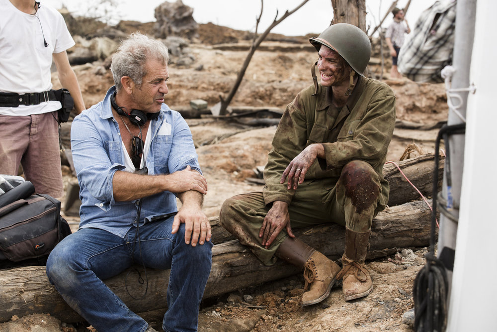 Mel Gibson and Andrew Garfield on the set of  Hacksaw Ridge