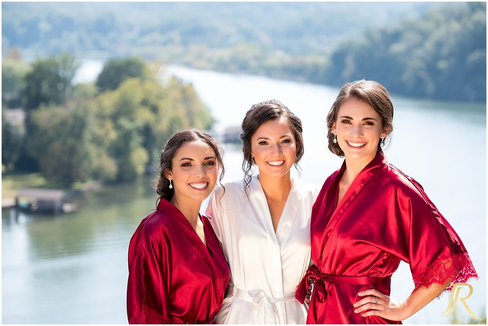 Bridesmaids at Cherokee Country Club overlooking the Tennessee River.