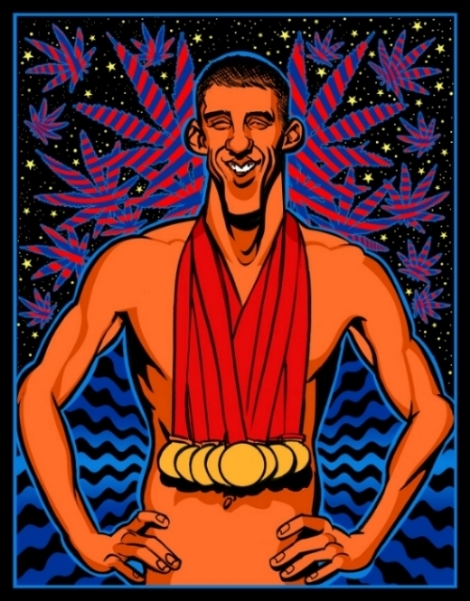 Michael Phelps blacklight poster