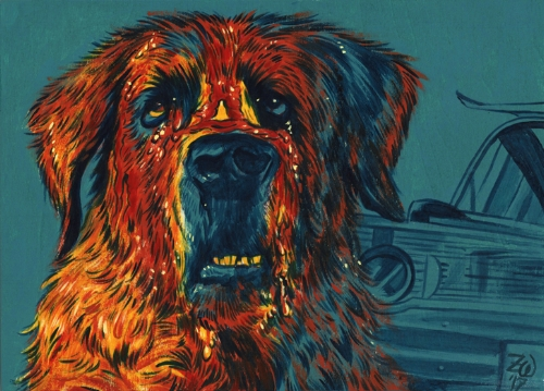 "Cujo, 5"" x 7"", acrylic on wood panel."