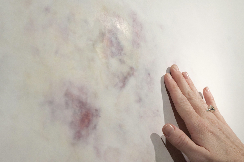 Untitled, Bruise Study . acrylic, joint compound, drywall. 2015.  Nesbitt Gallery University of Arts and Sciences Oklahoma.   Untitled, Bruise Study  are humble reminders of our body's physicality and I give reverence to these ephemeral markings by enlarging and embedding them in a building material, drywall.