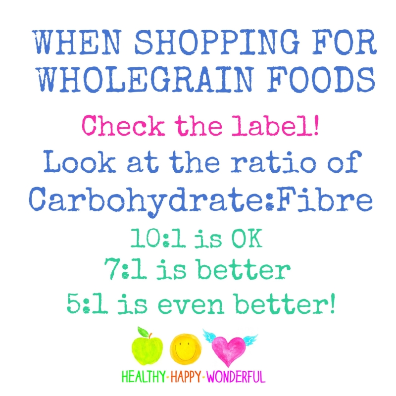 Check the carb-to-fibre ratio when shopping for wholegrain foods!