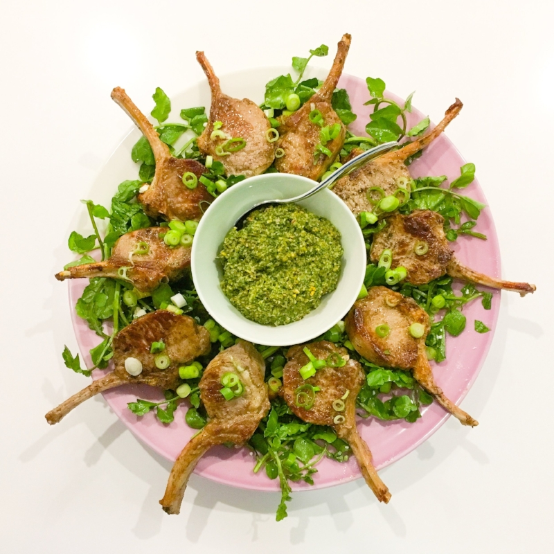 Lamb Cutlets with Sweet & Tangy Mint Pistachio Pesto
