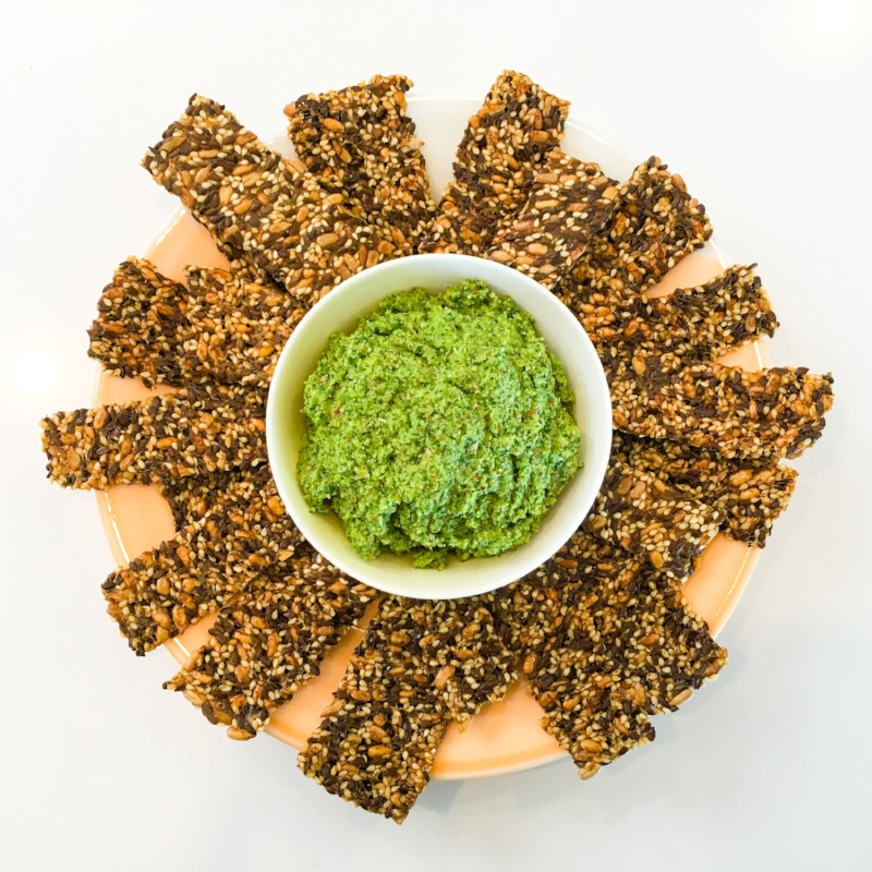 Pesto Pate and Healthy Seeded Crackers